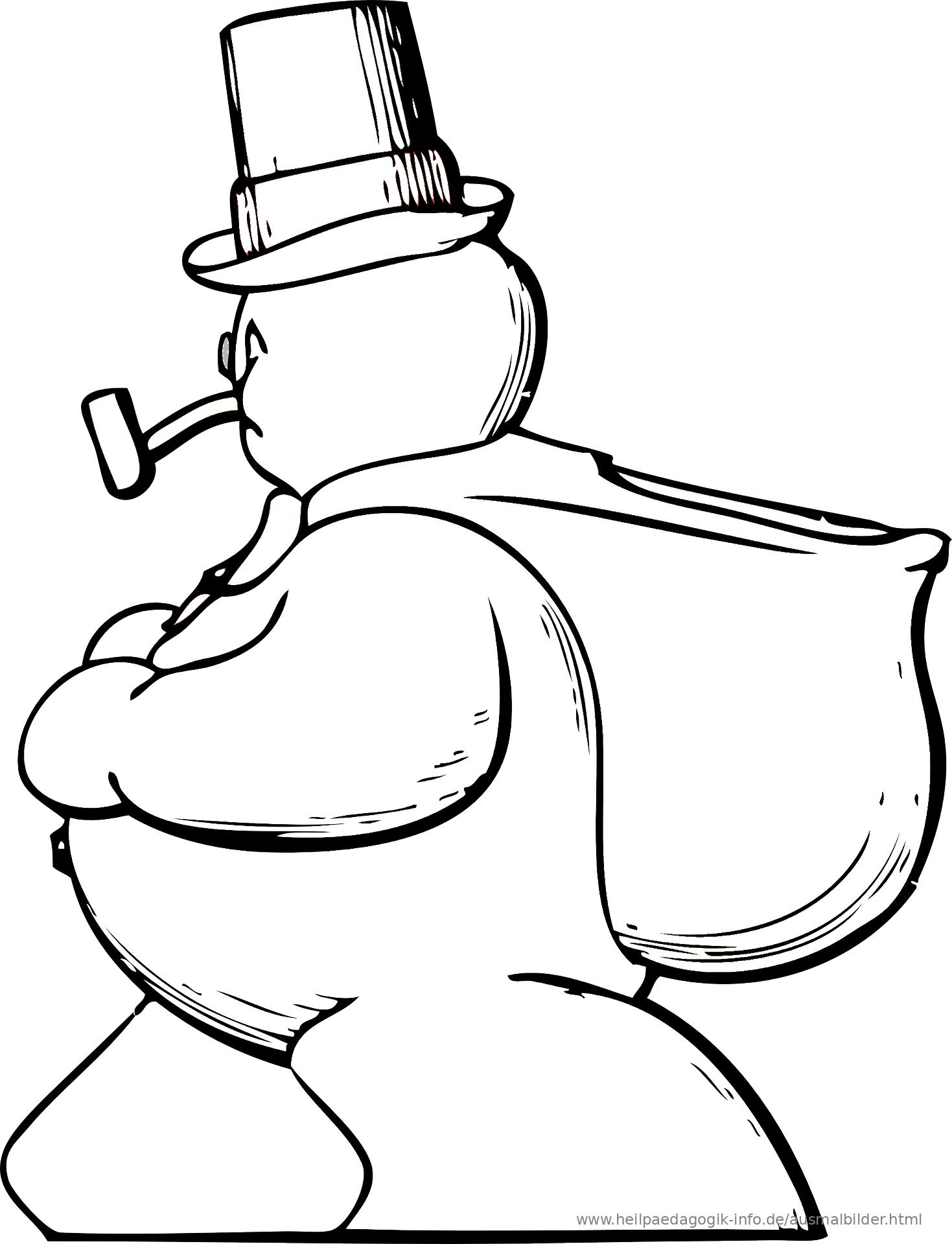 malvorlage schneemann pdf  kinder zeichnen und ausmalen