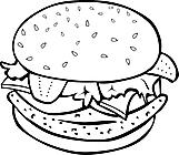 Ausmalbild Malvorlage Burger