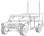 Ausmalbild Malvorlage Jeep / Geländewagen