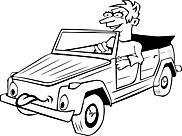 Ausmalbild Malvorlage Cabrio mit Fahrer