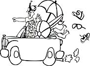 Ausmalbild Malvorlage Auto mit Urlaubern