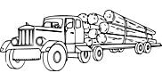 Ausmalbild Malvorlage LKW mit Holz