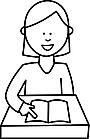 Ausmalbild Malvorlage Mädchen / Schulkind