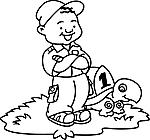 Ausmalbild Malvorlage Junge mit Schildkröte