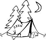 Ausmalbild Malvorlage schlafender Mann im Zelt