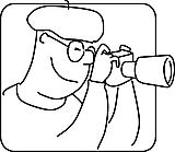 Ausmalbild Malvorlage Mann mit Fernglas