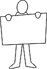 Ausmalbild Malvorlage Mann mit Plakat
