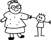 Ausmalbild Malvorlage Oma mit Kind