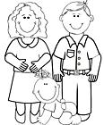 Ausmalbild Malvorlage Eltern mit Baby