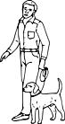 Ausmalbild Malvorlage Mann mit Hund