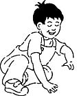 Ausmalbild Malvorlage spielender Junge