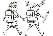 Ausmalbild Malvorlage Schulkinder