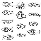 Ausmalbild Malvorlage Fische links - rechts