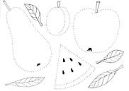 Ausmalbild Malvorlage Obst Punkte nachmalen (Vorschule)