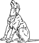 Ausmalbild Malvorlage bellender Hund