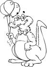 Ausmalbild Malvorlage Krokodil mit Luftballons