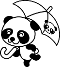 Ausmalbild Malvorlage Panda mit Regenschirm