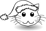 Ausmalbild Malvorlage Katze mit Weihnachtsmütze