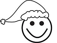 Ausmalbild Malvorlage Smiley mit Weihnachtsmütze