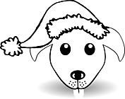 Ausmalbild Malvorlage Hund mit Weihnachtsmütze