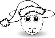 Ausmalbild Malvorlage Schaf mit Weihnachtsmütze