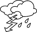Ausmalbild Malvorlage Blitz und Regen