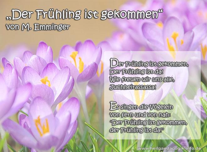 Frühlingsgedicht Der Frühling Ist Gekommen
