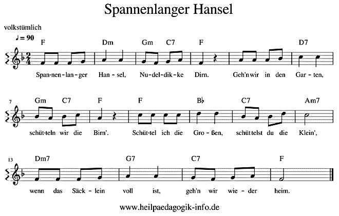 Spannenlanger Hansel Text Noten Download