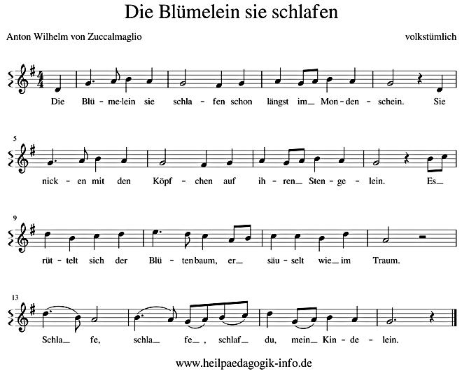 Sandmannchen Die Blumelein Sie Schlafen Text Noten Download