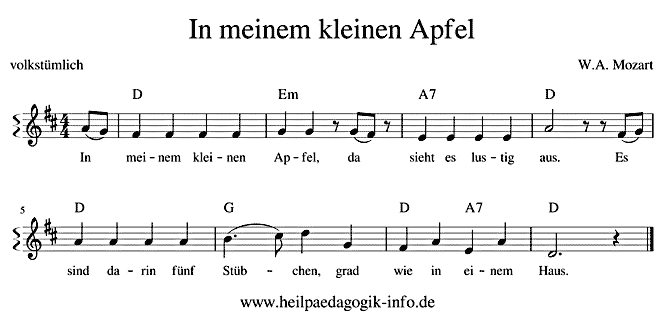 In meinem kleinen Apfel - Text, Noten, Download