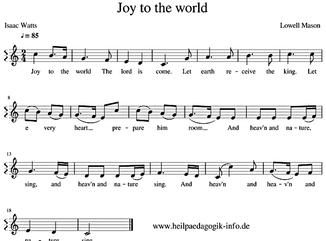 Englische Weihnachtslieder Noten.Joy To The World Englisch Text Noten Download