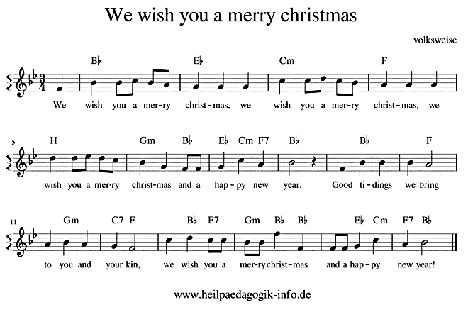 We wish you a merry Christmas (Englisch) - Text, Noten, Download