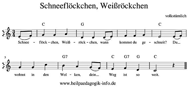 Schneeflöckchen Weißröckchen Text Noten Download
