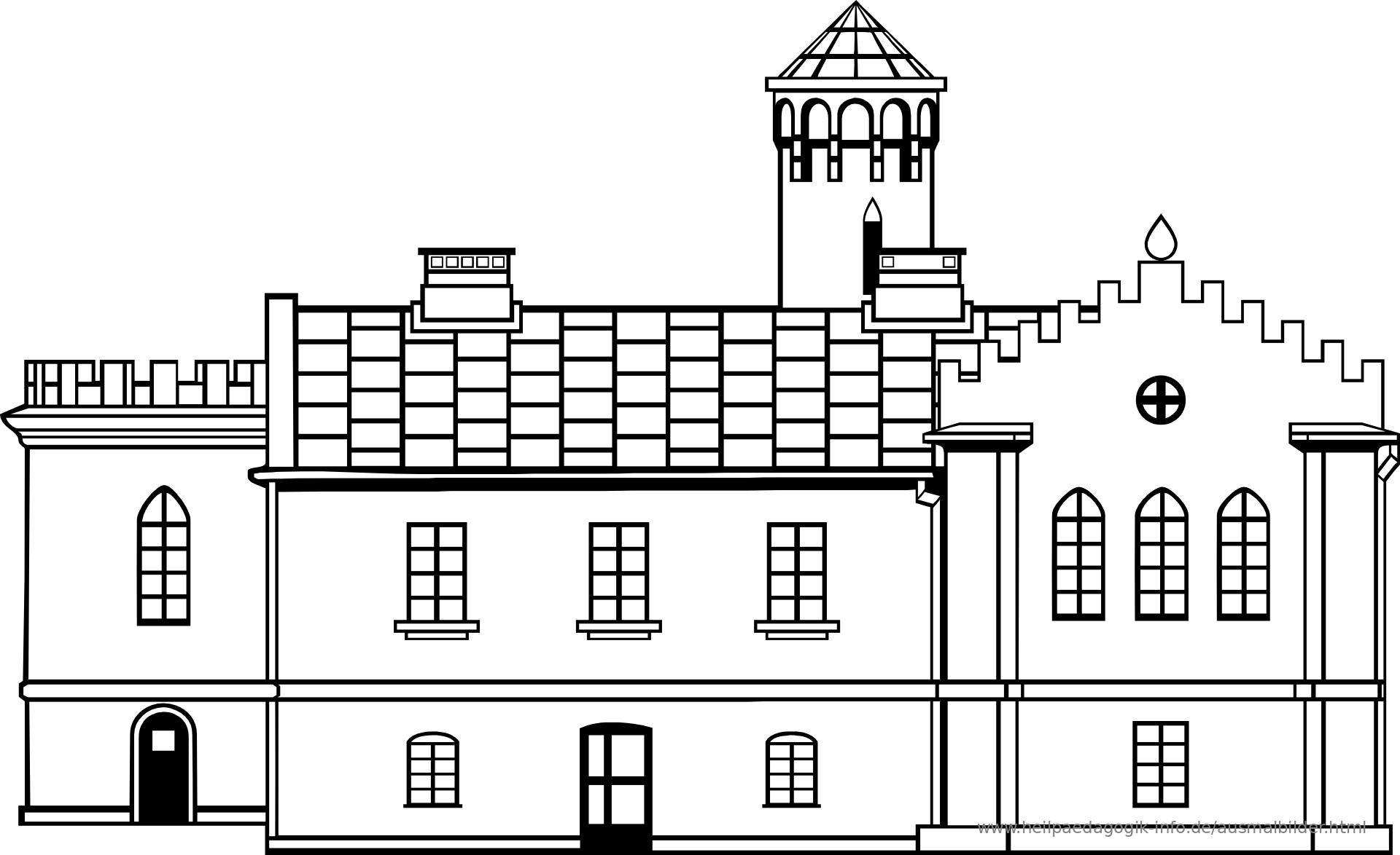 Ausmalbilder Häuser und Gebäude